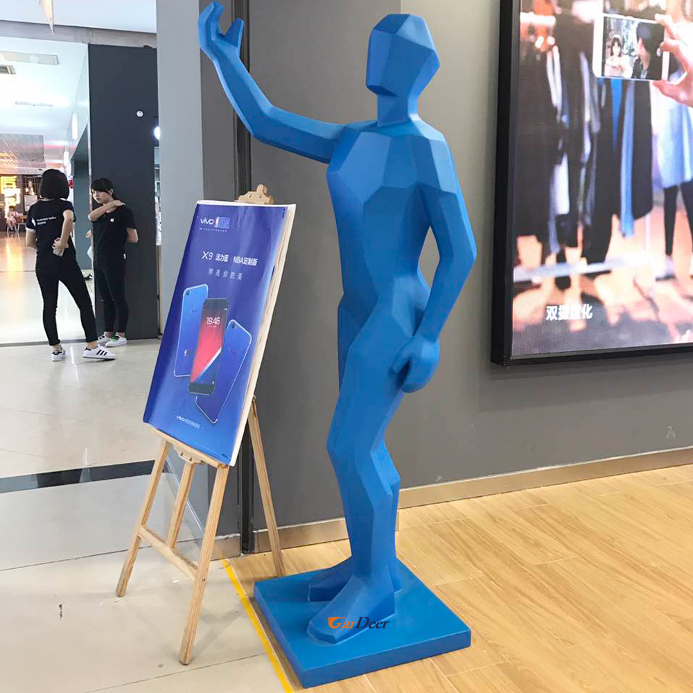 Hot solid blue and white frp human model for vivo store display