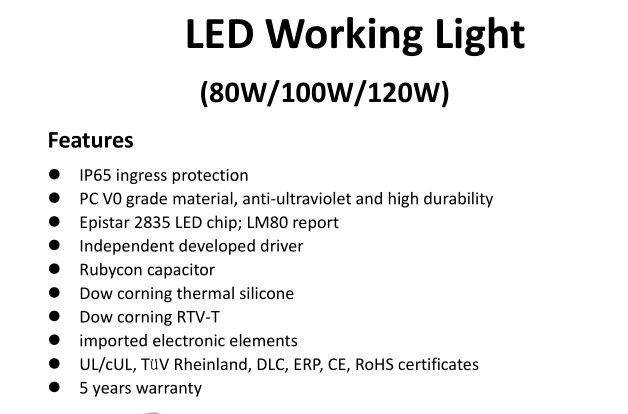 China best selling products ip64 led work light 80W/100W RoHS CE Certification temporary Led Work Light for Street