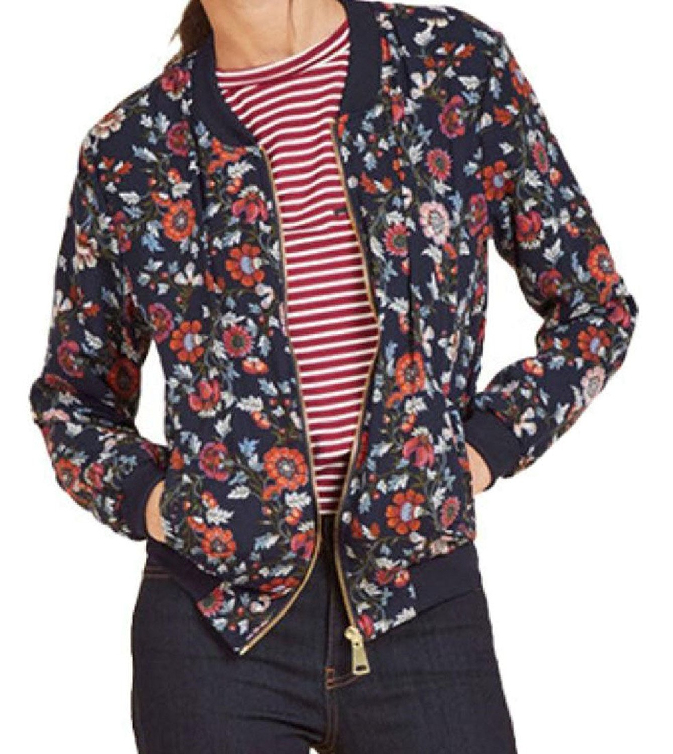 Abetteric Women Pockets Floral Print Zipper Vintage Stand Collar Overcoat