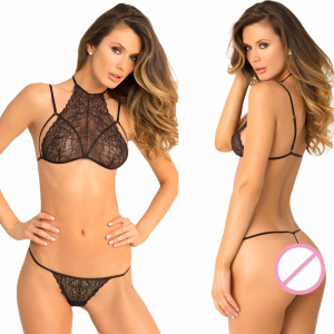 Black lace sexy neck three point type sexy lingerie