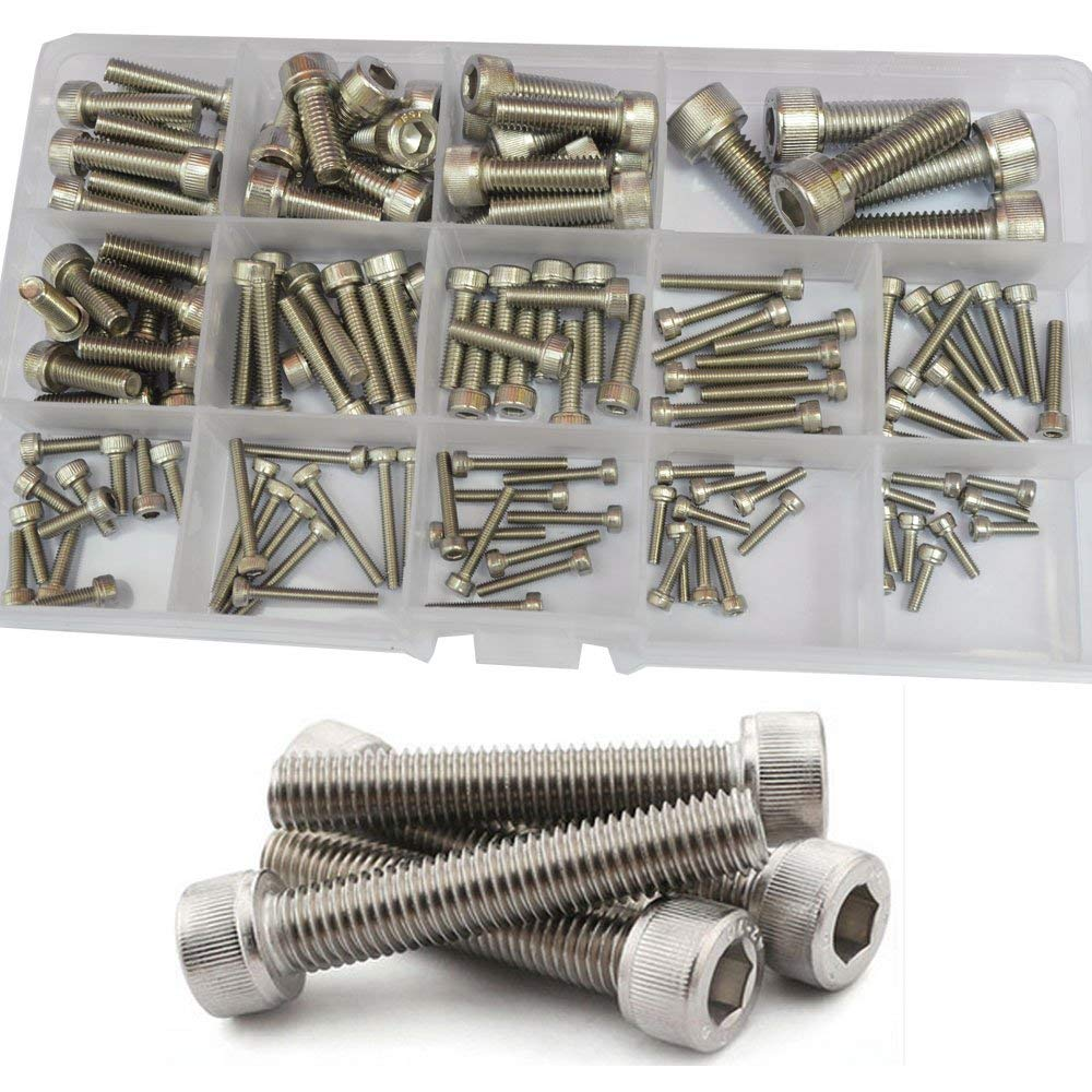 Socket Cap Screw Metric Hex Allen Head Bolt M2.5 M3 M4 M5 M6 M8 Hardware Assortment Kit 135Pcs (304Stainless Steel M2.5-M8)
