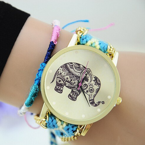 2015 New Arrival Hot Handmade Braided Watch Fashion Ethnic Style Elephant Pattern Wristwatch Aliexpress Hot Sele Wacth