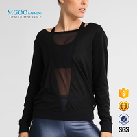 2018 Latest design transparent see through long sleeve plain black t shirt Modal cotton mesh sexy yoga top