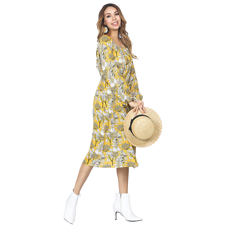 Autumn Bell Sleeved Long One Piece <strong>Sexy</strong> <strong>Dress</strong> Women Flower Pattern Yellow