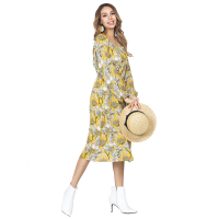 Autumn Bell Sleeved Long One Piece Sexy Dress Women Flower Pattern Yellow