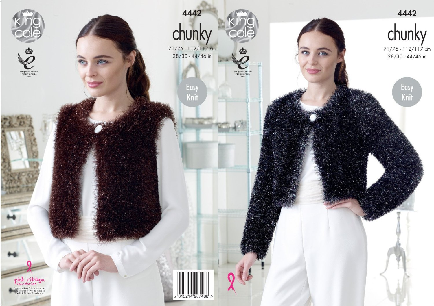 78d43e5c7ead98 Get Quotations · King Cole Ladies Tinsel Chunky Knitting Pattern Womens  Easy Knit V   Round Neck Cardigans (