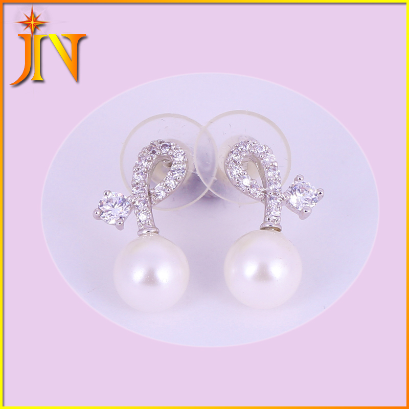 EH0001 JN wholesale New western style platinum Plated Micro inlays zircon fashionable tie pearl earring for women jewelry