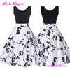 High quality black and white skater party new ladies vintage dress