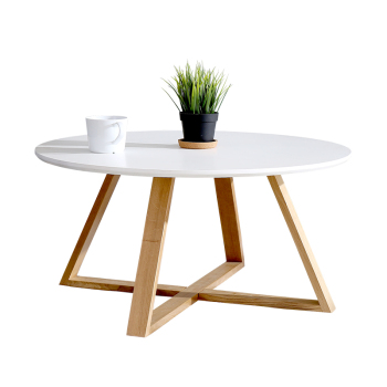 2016 Modern White Wooden Coffee Table Side Table Three Legs Round
