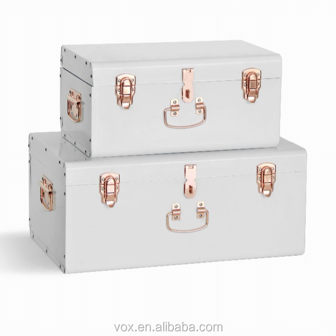 Beautify Vintage Style Box set of 2 Metal Storage Trunk with Rose gold accessories