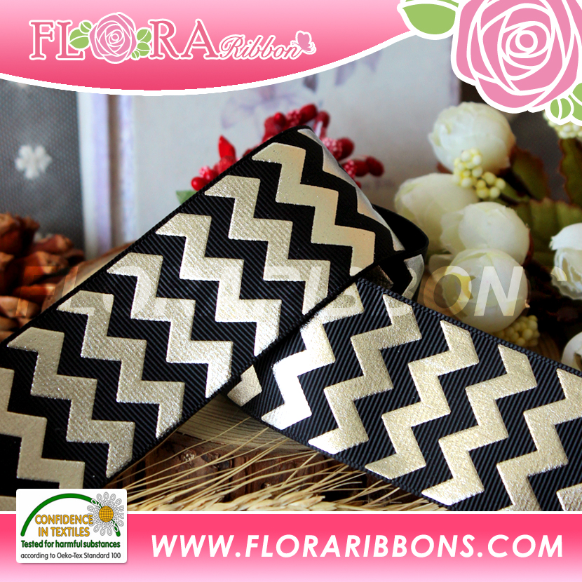 Foil Gold Strip Printing Grosgrain Ribbon for Decoration