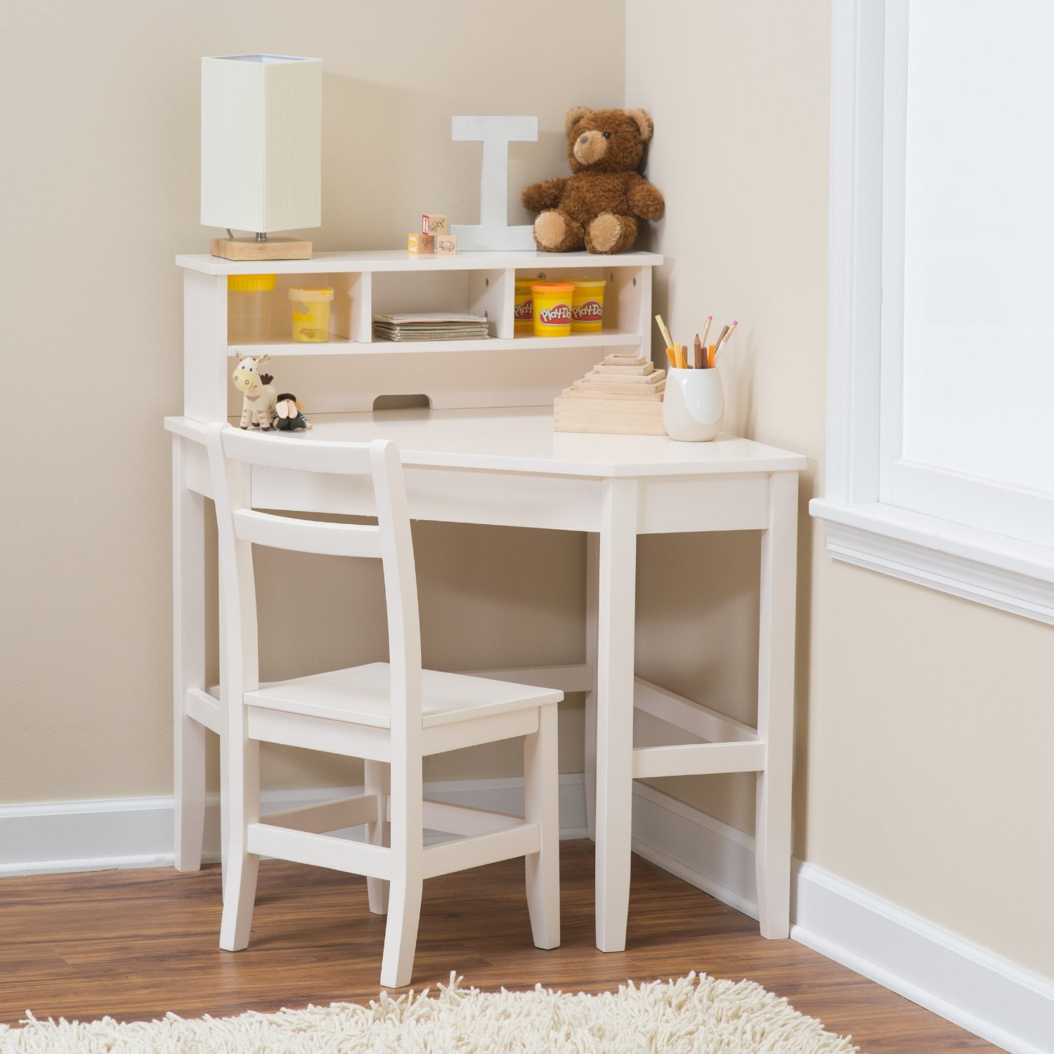 Kids Corner Desk With Reversible Hutch Compact Good Storage Perfect For Laptop