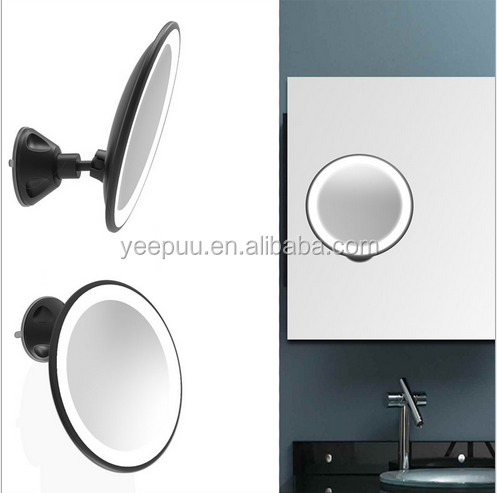 LED Light Swivel Locking Suction Brite Bathroom/Travel Magnification Makeup Mirror
