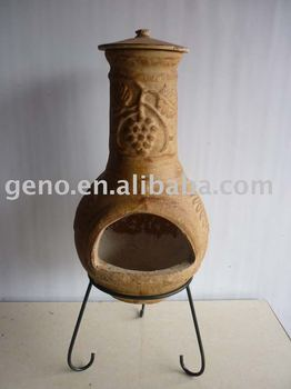 Antique Clay Chiminea With Stand