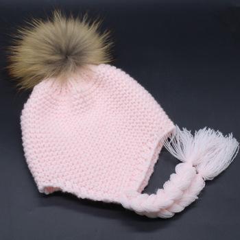 zzm-30 Baby Kids Girl Boy Newborn Crochet Knitted Hats Skull Caps Wool Fur  Ball 6d699b0495db