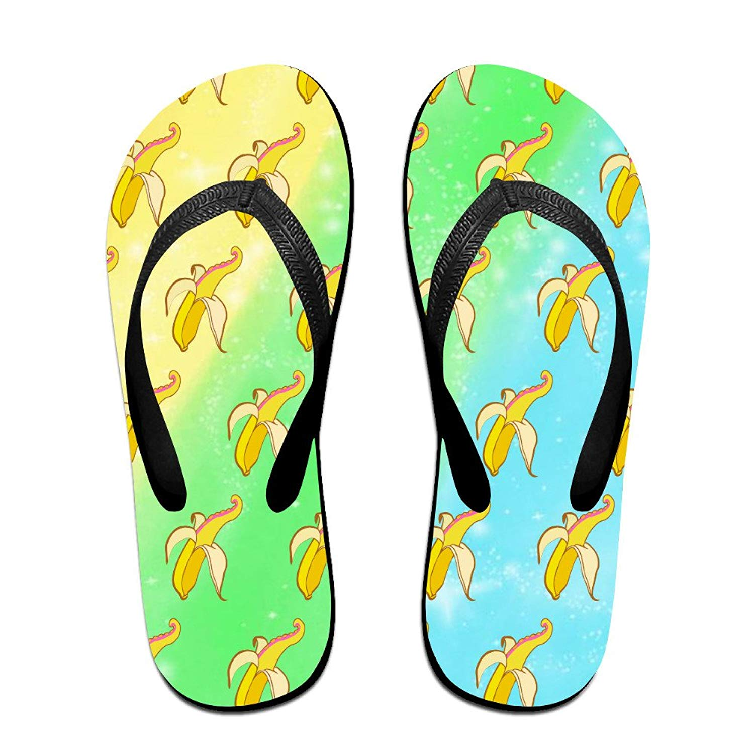 348c191ae1bc8a Get Quotations · Banana Octupus Rainbow Unisex Fashion Beach Slipper Indoor  And Outdoor Classical Flip-flop Thong Sandals