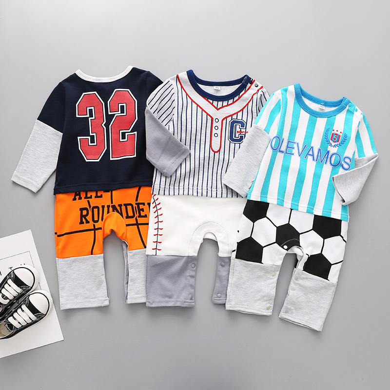 Sports Pattern Baby Romper Snap long sleeve baby clothes Boys Bodysuit