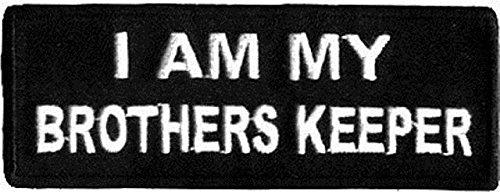 blk//wht I AM MY BROTHER/'S KEEPER BIKER PATCH 4 INCH MC BIKER PATCH