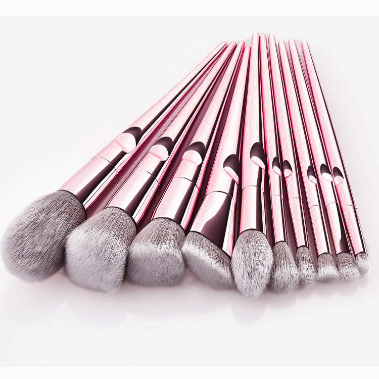 New arrival 10 piece rose gold makeup brush with pink bag OEM ODM manufacture