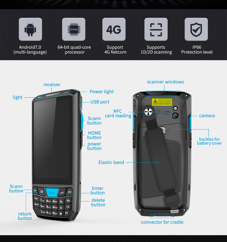 T80 honeywell android handheld terminal pda android barcode scanner 2D qr code reader with nfc rfid reader medical device pdas