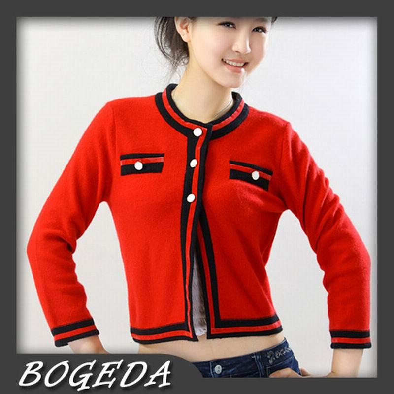 Compra corto de color rojo chaqueta de punto online al por