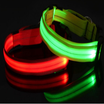 outdoors dog collars glow in the dark LED dog collar flashing light pet collar