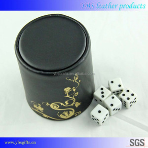 Heat transfer printing leather luxury durable selling dice cup with dices