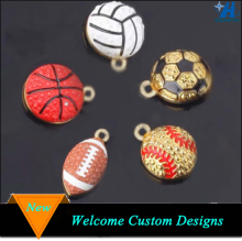 Custom Cheap Wholesale Rhinestone Sports Ball Charm,Gold Plated Football Basketball Rugby Baseball Volleyball Sports Ball Charm