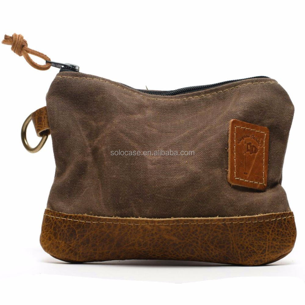 Waxed Canvas Zippered Golf Valuables Field Pouch in monogrammed