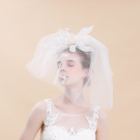 New simple design bridal lace accessories short soft tulle wedding veil for bride