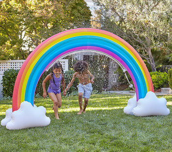Inflatable Rainbow Arch Sprinkler Kids Backyard Playing