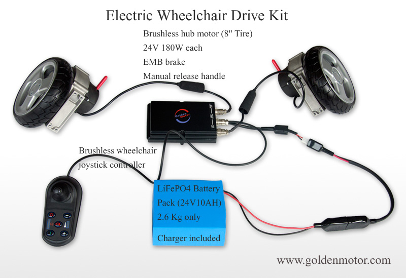 8, 10, 12, 24 inch power electric wheelchair conversion kits, brushless electric wheelchair motor, controller, battery