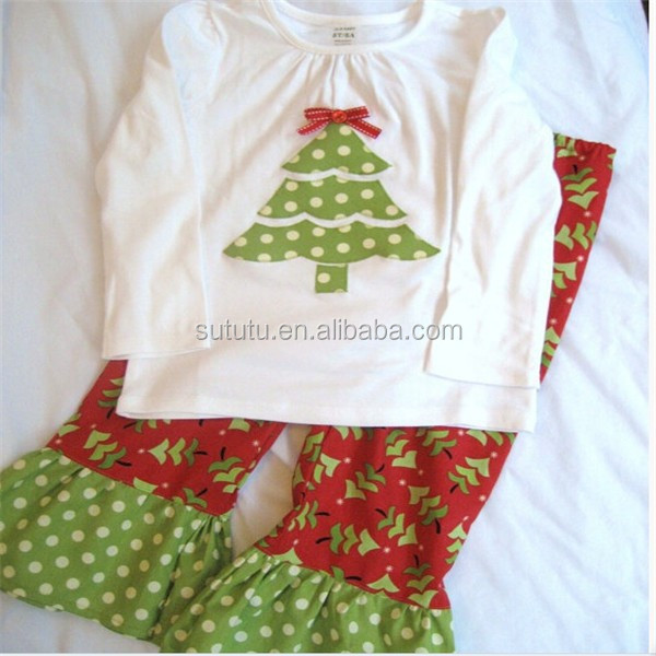 Newest Design Girls Wholesale Boutique Blank Top Tree Printed And Ruffle Floral Pant Vintage Clothing Online Baby Clothes Winter