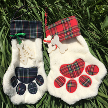 Wholesale 2017 most popular christmas stockings high quality cheap monogrammed personalized plaid fur dog christmas stockings