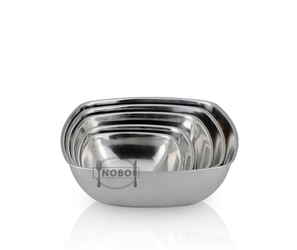 European new design tableware metal bowl stainless steel square snack serving bowl