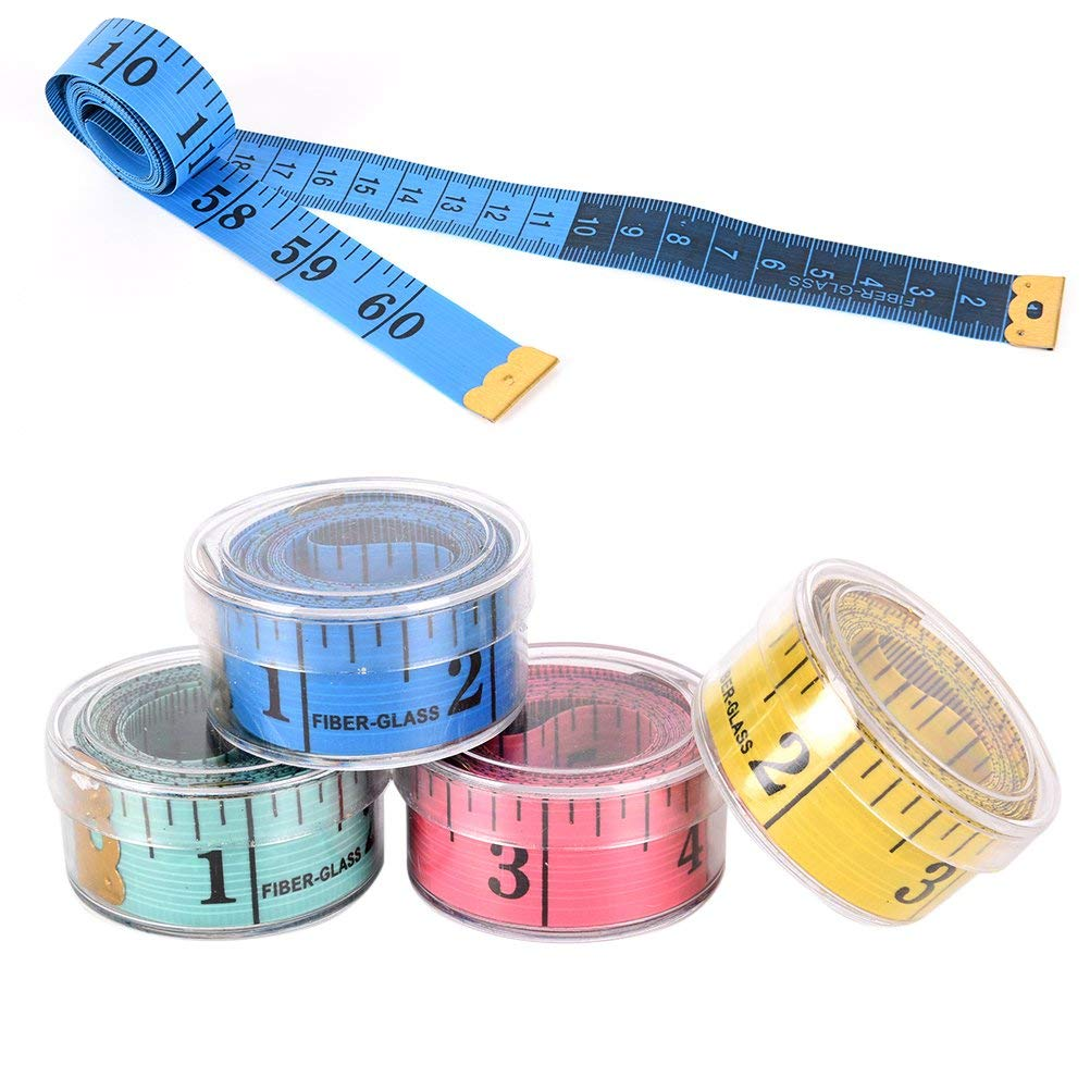 Freedi 60-inch Tape Measure Fabric Body Sewing Tailor Soft Flat Measuring Tape Rulers with Plastic Case Random Color Pack of 4