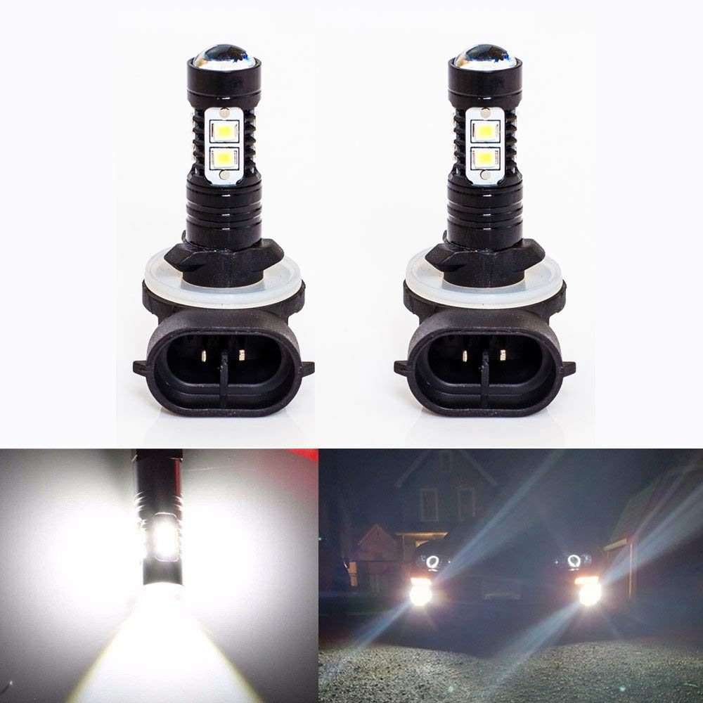 Extremely Bright Max 50W High Power 881 889 LED Bulbs for DRL or Fog Lights 886 894 896 898, Xenon White, Pack of 2