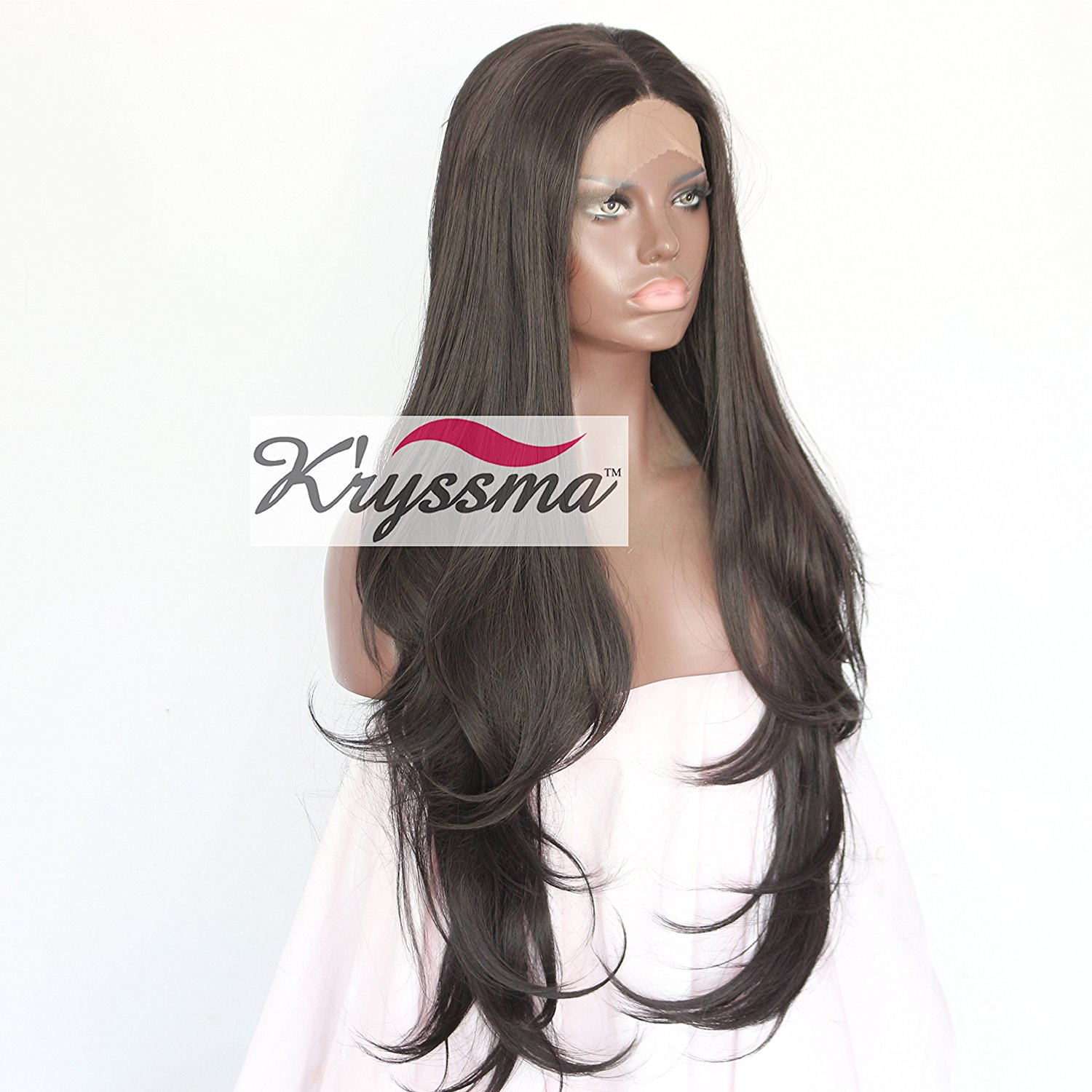 Get Quotations · K ryssma Realistic Looking Synthetic Hair Lace Front Wigs  For African American Women Middle Part 299818d24