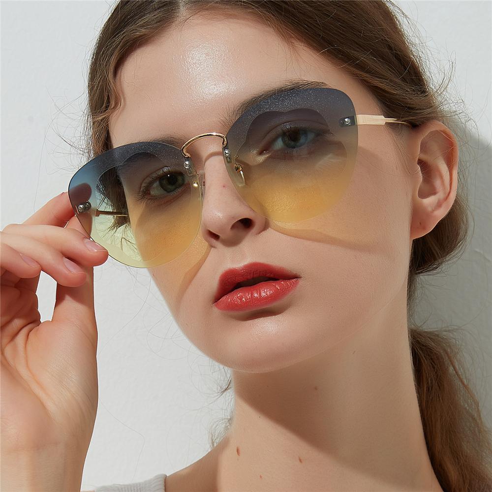 GUVIVI OEM Gradient color New style 2017 fashion Rimless Custom sunglasses womens Women's fashion sunglasses фото