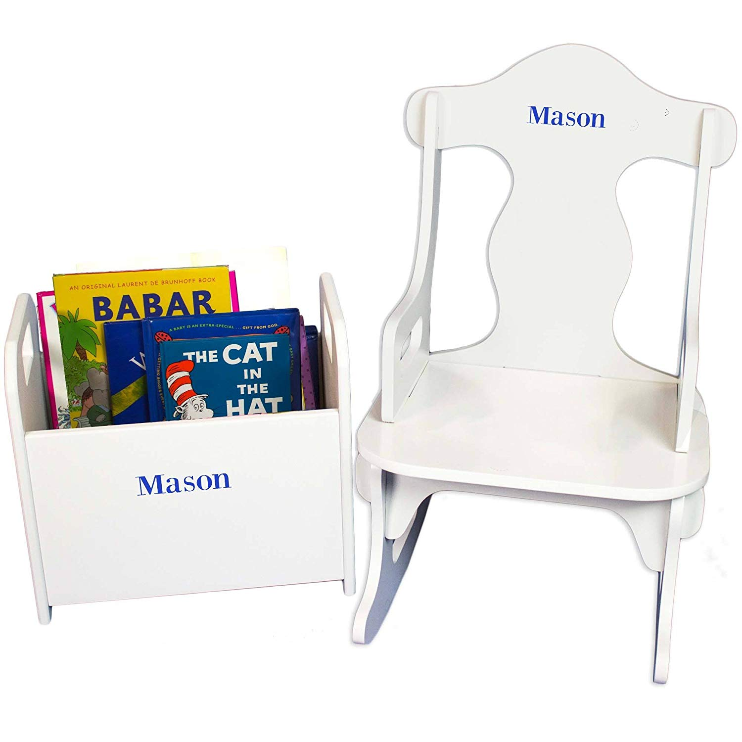 MyBambino Personalized Boys with name only Book Holder and Puzzle Rocker Set