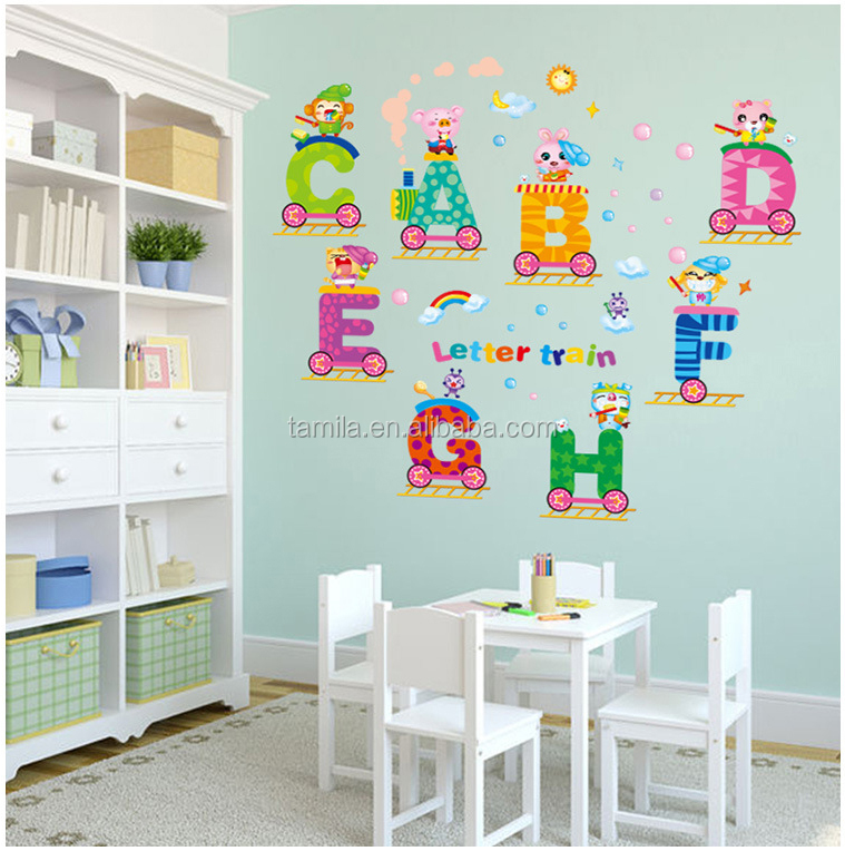cartoon customized vinyl alphabet letters train nursery wall decoration pvc sticker