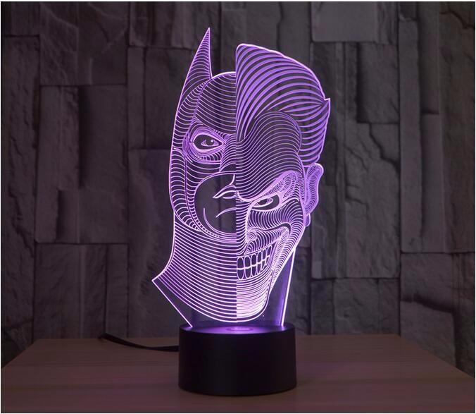 Lampes Lamparas Bureau G Face Chambre Led 3d Stl Nouveauté Double De Veilleuse Joker Usb Noël Ampoule Table Buy Batman Haute Illusion Lampe 0wPNOk8nX
