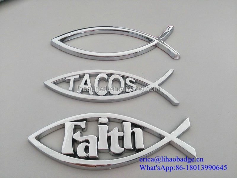 Christian products wholesale Jesus fish chrome 3d car emblem
