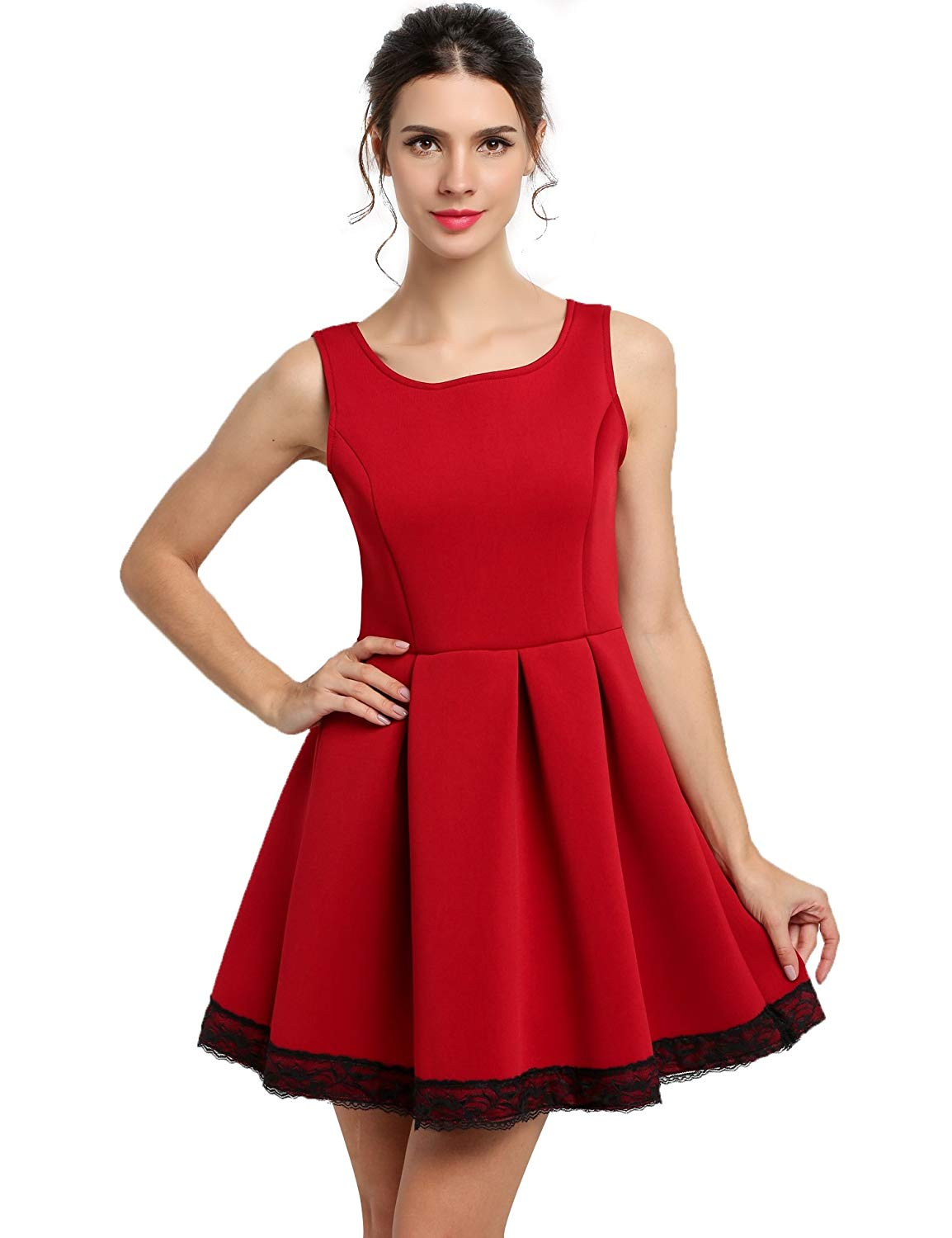 Eshion Vintage 1950s Solid Fit and Flare Dress Party Cocktail Dress