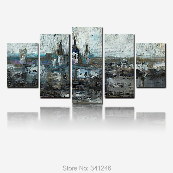 Hand-painted modern wall art home decor for living room winter river thick Palette knife landscape oil painting on canvas framed