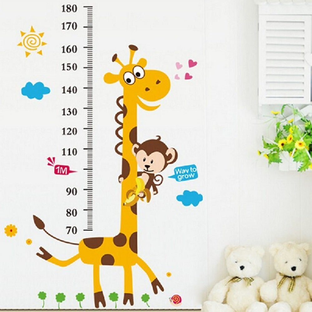 Height Ruler Home Decoration Sticker wallpaper Vinilos Paredes Kids Height Chart Wall Sticker Home Decor Cartoon Giraffe