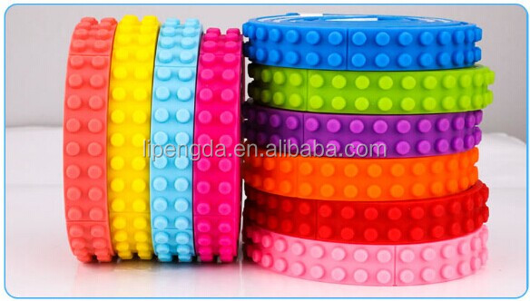 Wholesale blocks silicone tape flexible / silicone legos tape building blocks toy