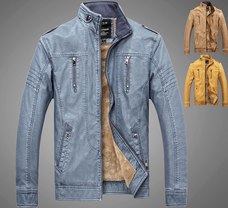 b8b7a5bf5457 2015 New Fashion Plus Size Casual Warm Men s Leather Jacket Autumn Winter  Genuine Leather Jackets Coats Men High Quality N00039