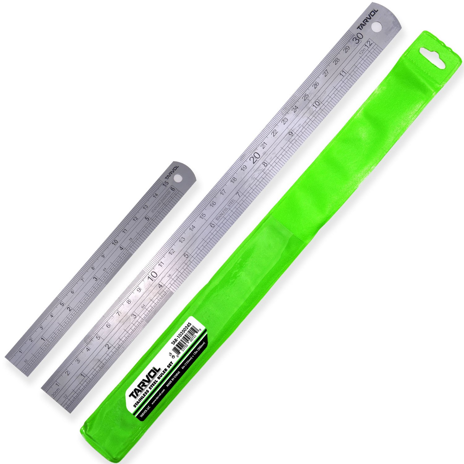 """12""""& 6"""" Metal Ruler Set (HEAVY DUTY 100% STAINLESS STEEL) 2 Piece Set - 12 Inch (30 CM) Ruler with 6 Inch (15 CM) Ruler in Convenient Storage Case - Perfect Straight Edge For Easy Measurements"""