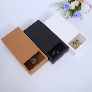 Qingdao Yilucai DIY Black Custom Match Kraft Paper Drawer Packaging Jewelry Folding Paper Gift Box